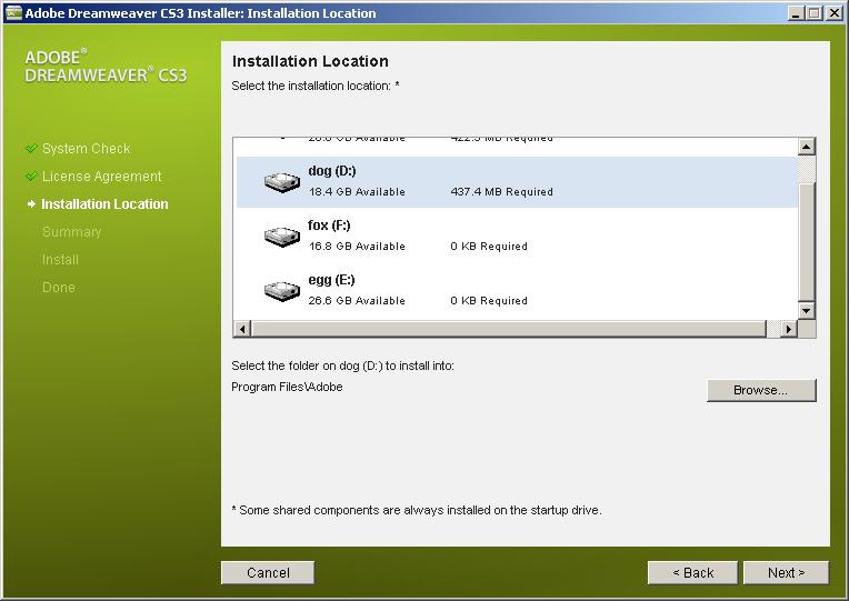 Adobe Dreamweaver CS3 选择安装位置