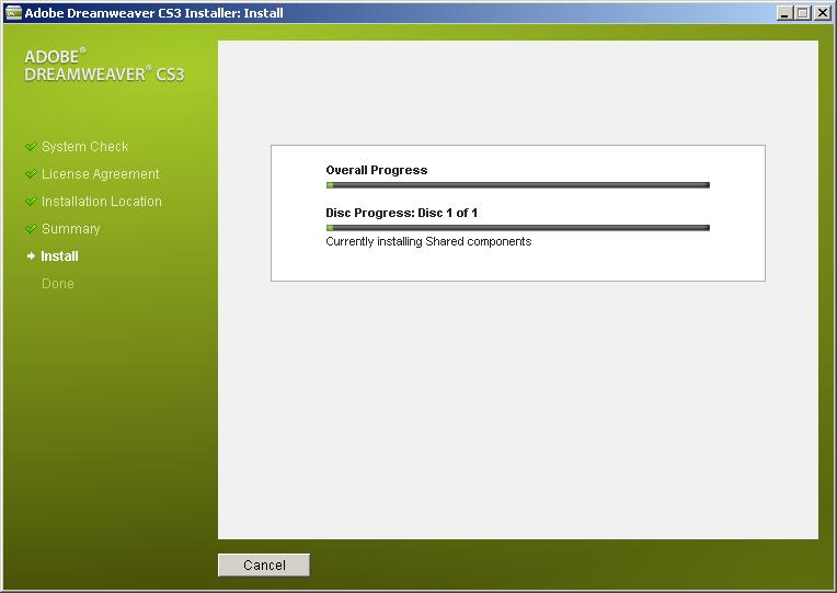 Adobe Dreamweaver CS3 的安装速度慢