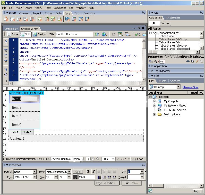 Adobe Dreamweaver CS3 界面